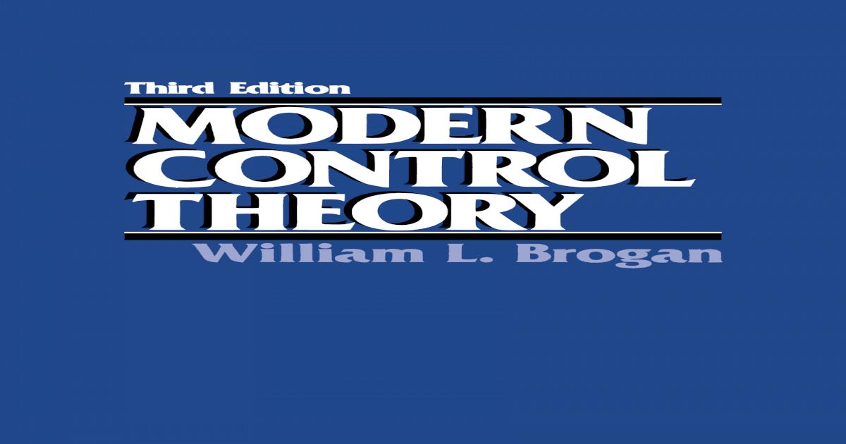 Modern Control Theory Brogan Pdf