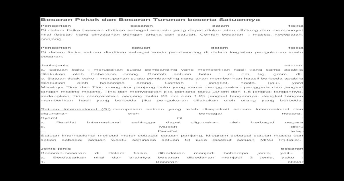 Besaran Pokok Dan Besaran Turunan Beserta Satuannya Docx Document