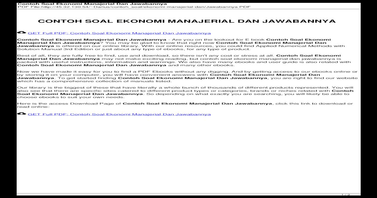Contoh Soal Ekonomi Manajerial Dan Jawabannya Pdf Document