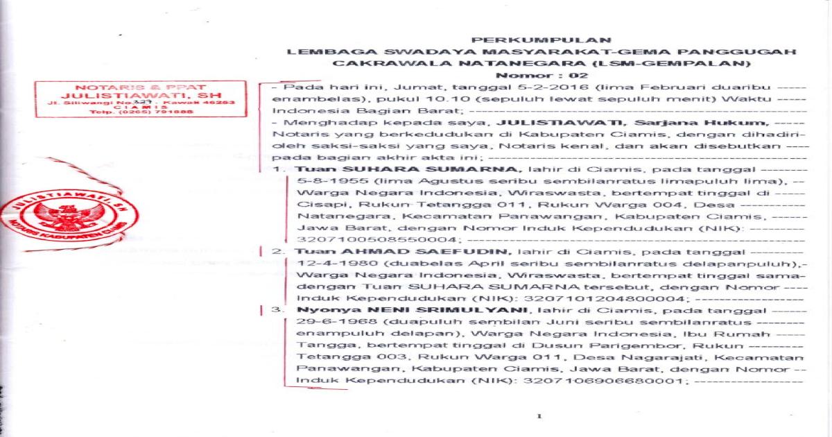 Contoh Akta Pendirian Perkumpulan Pdf Document