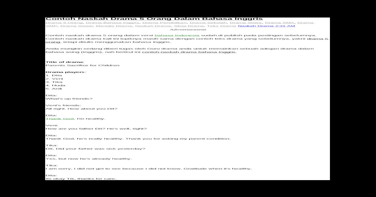 Contoh Naskah Drama 5 Orang Dalam Bahasa Inggris Docx Document