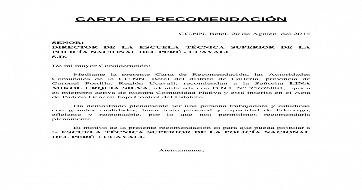 modelo de carta de recomendacion