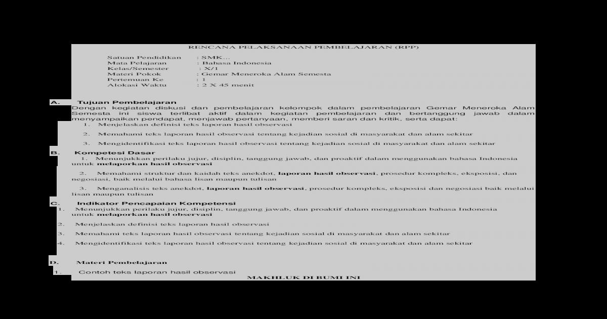Rpp Bahasa Indonesia Kelas X Sma Docx Document