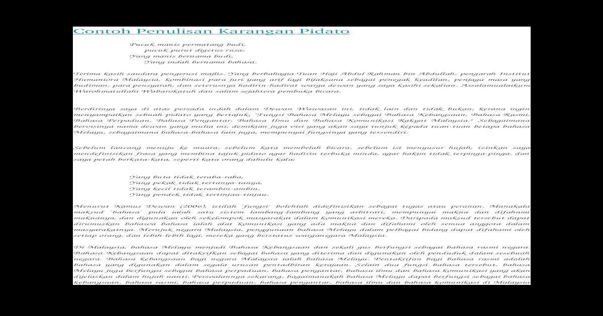 Contoh Penulisan Karangan Pidato Docx Document