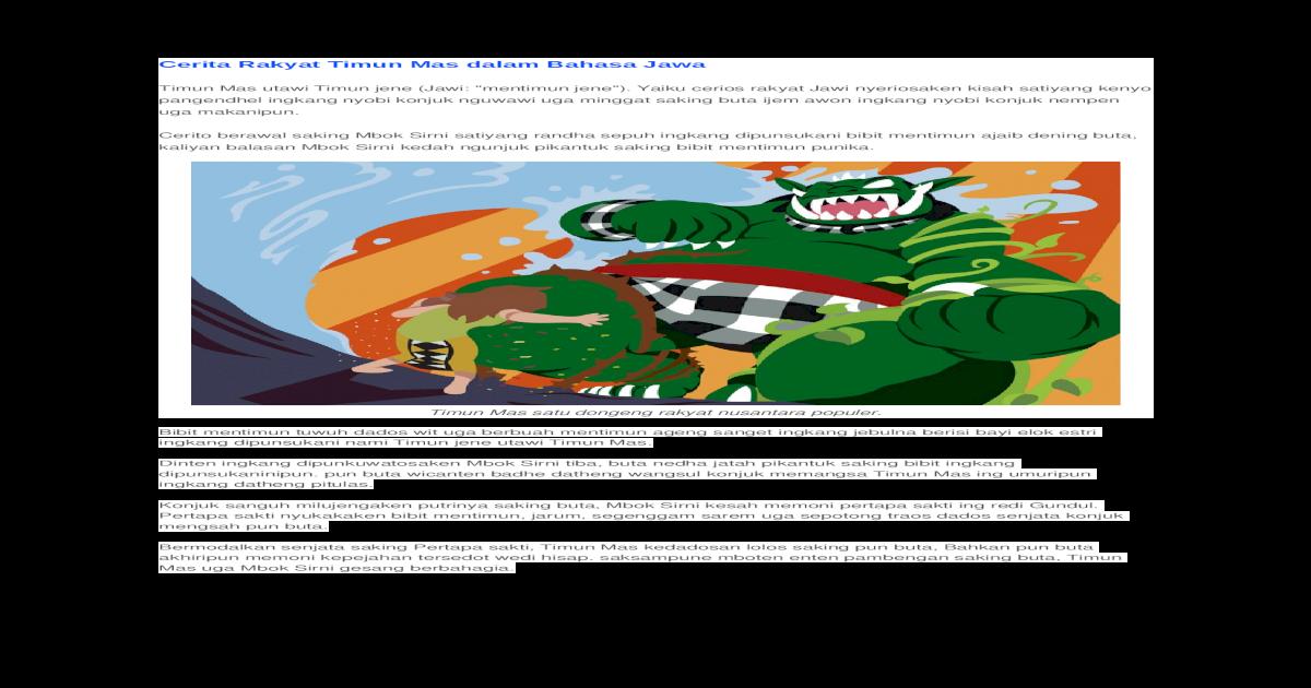 Cerita Rakyat Timun Mas Dalam Bahasa Jawa Doc Document