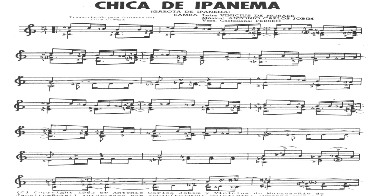 Jobim Girl from Ipanema for classical guitar - [PDF Document]