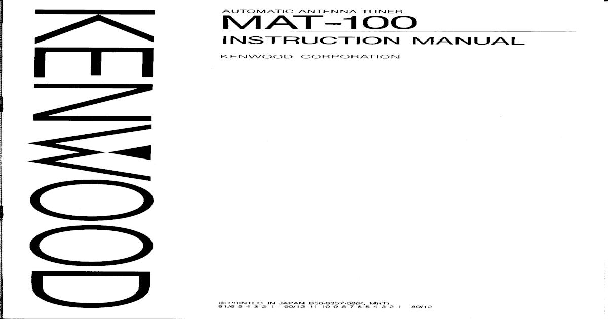 kenwood mat100 antenna tuner instr man sch pdf pdf document rh vdocuments mx 4028 Kenwood User Manuals Printable kenwood mat-100 service manual