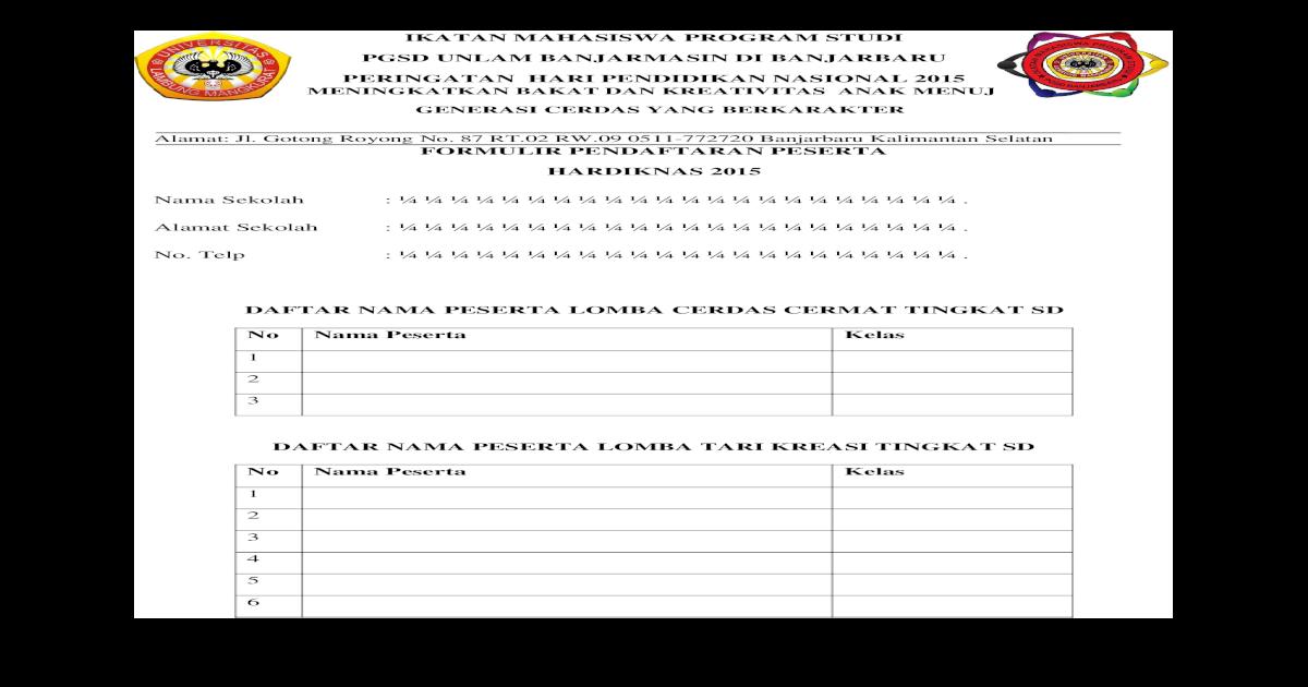 Formulir Pendaftaran Peserta Sd Doc Document