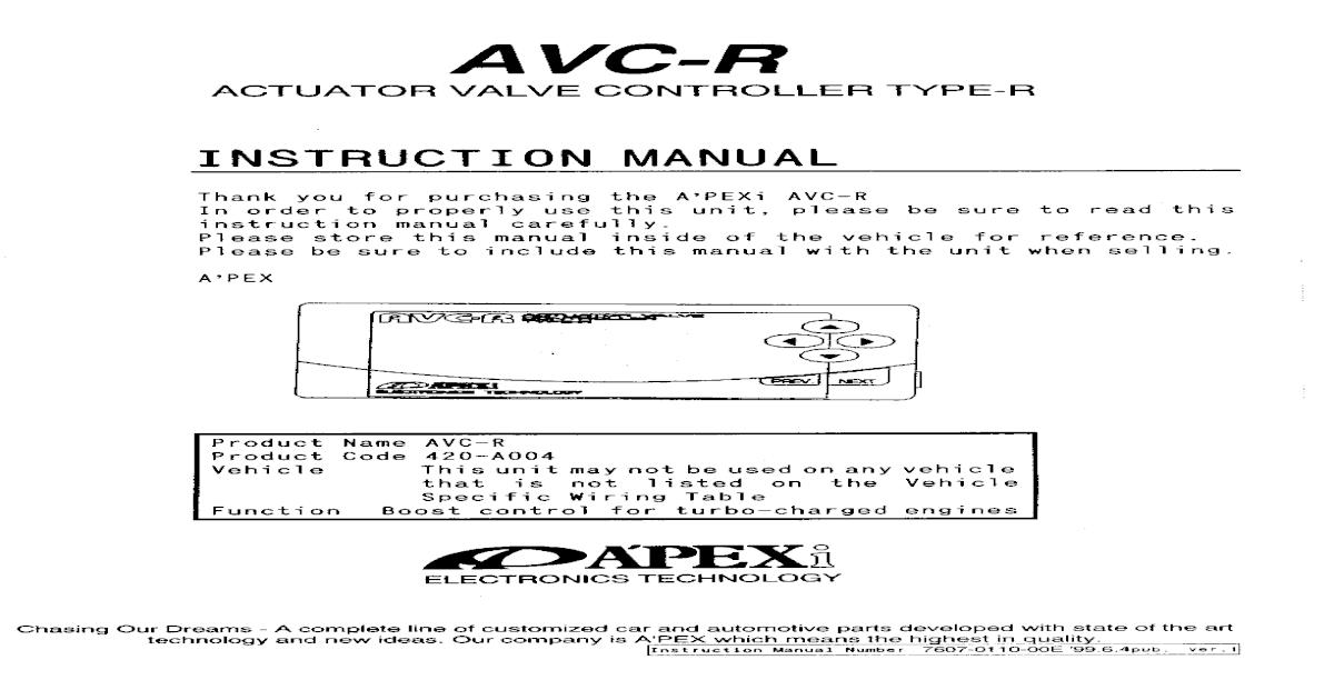 Apexi Installation Manual: AVC-R Actuator Valve Control Type-R ...