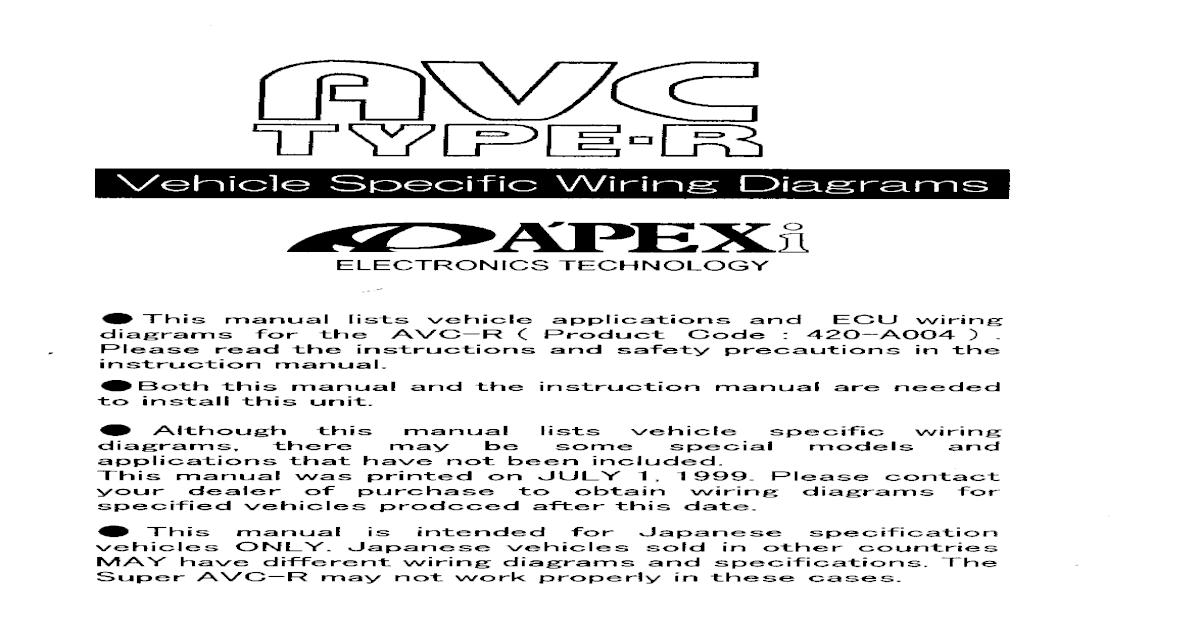 Apexi Installation Instruction Manual: AVC-R Wiring Diagram - [PDF ...