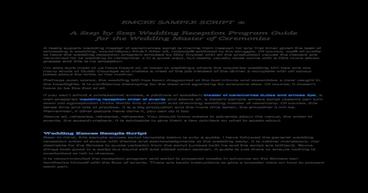 Emcee Sample Script Docx Document