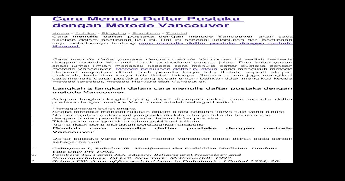 Cara Menulis Daftar Pustaka Dengan Metode Vancouver Docx Document