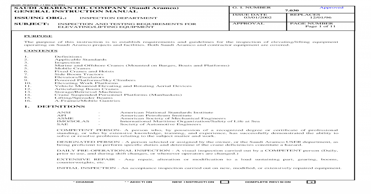 Aramco ir manual array saudi aramco 7 030 inspection lift equip pdf document rh vdocuments fandeluxe Gallery