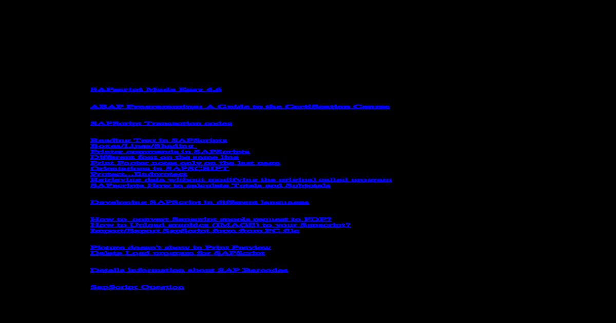 Sap Sapscripts Tips And Tricks Pdf Document
