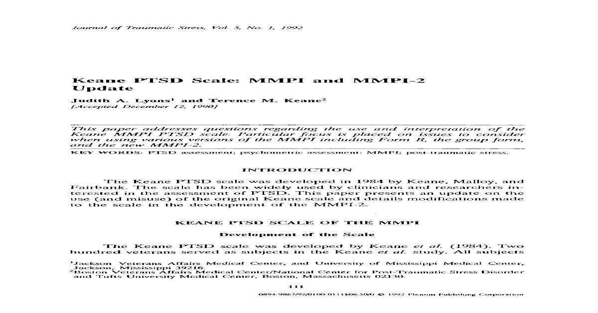 Keane ptsd scale mmpi and mmpi 2 update pdf document fandeluxe Image collections