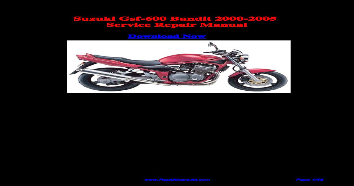 suzuki gsf 600 bandit 2000 2005 service repair manual pdf document rh vdocuments mx Suzuki Bandit 250 Suzuki Bandit Cafe Racer