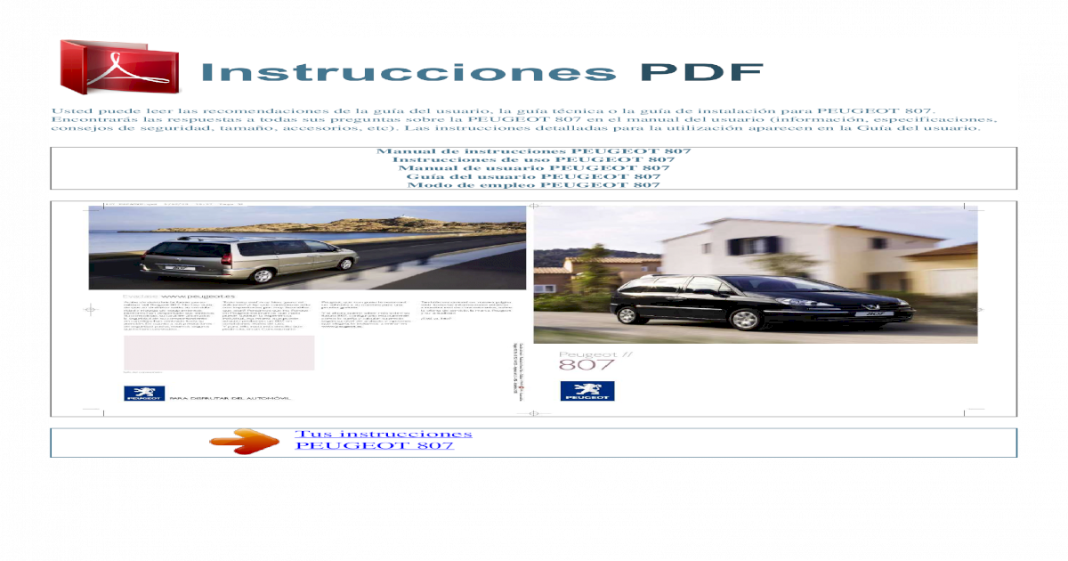 manual de instrucciones peugeot 807 s pdf document rh vdocuments mx manual usuario peugeot 807 gratis Peugeot 707
