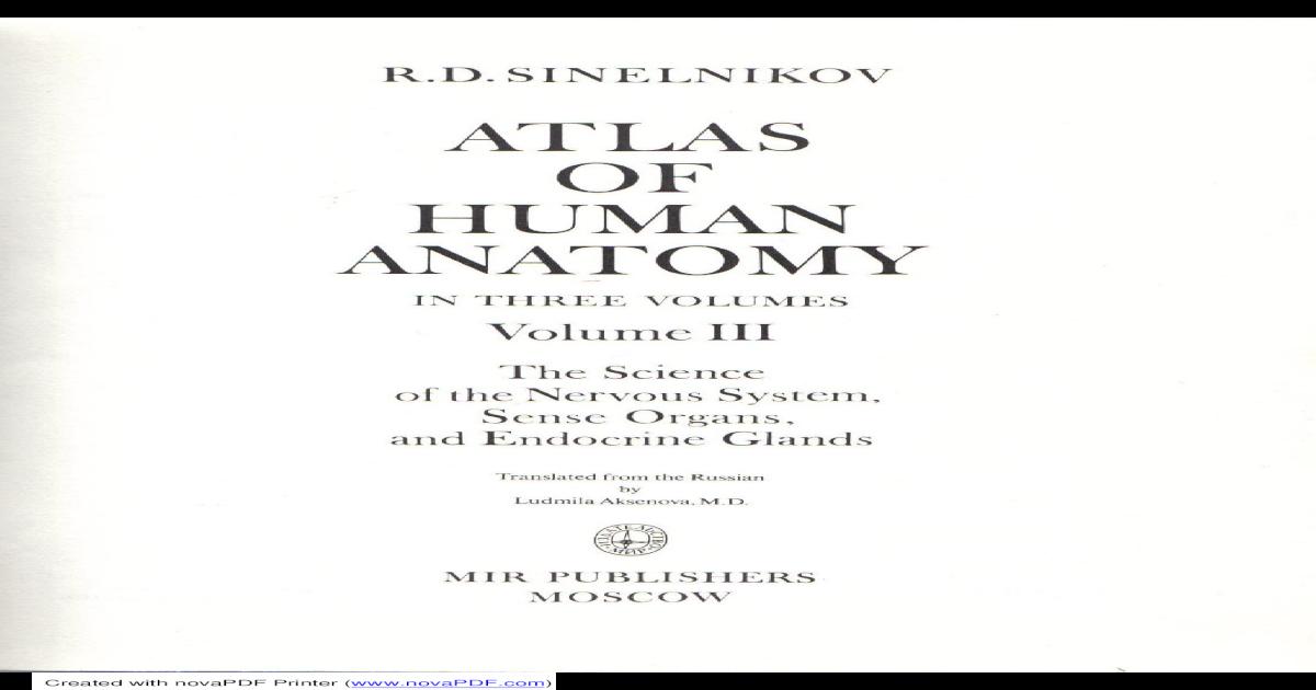 Atlas Of Human Anatomy Sinelnikov Vol3 Pdf Document
