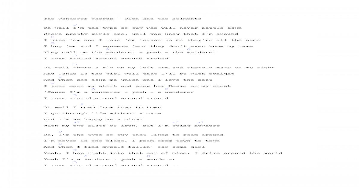 The Wanderer Chords Lyrics Dion Pdf Document