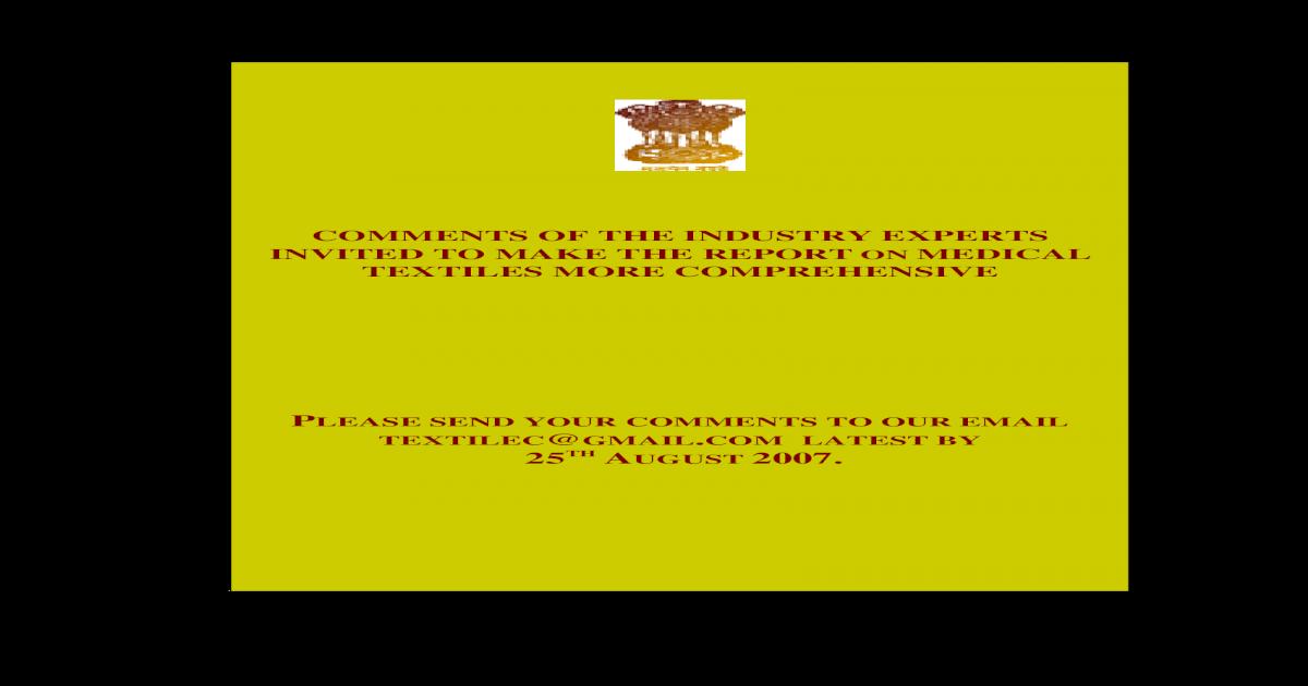Txcindia gov in - Report on Medical Textiles - [PDF Document]