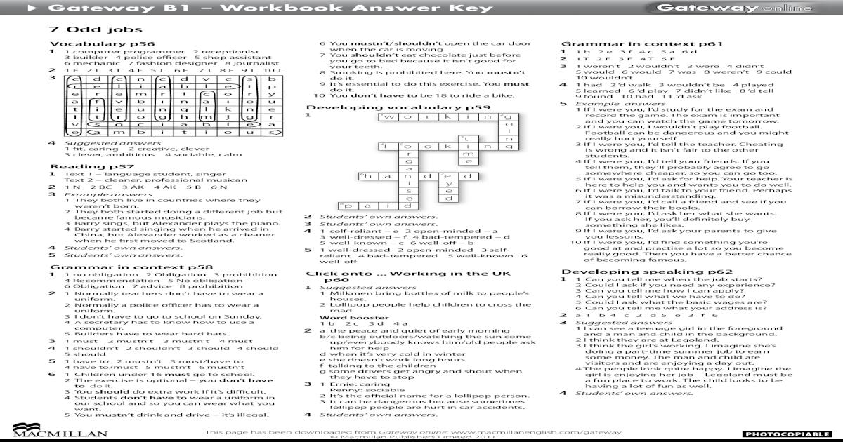 решебник gateway b1 workbook-1