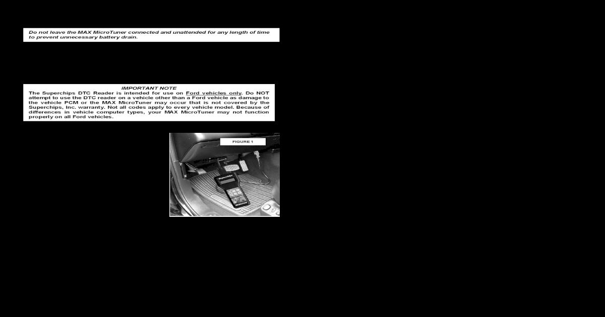 Superchips Inc  Ford DTC Reader Instructions - Inc  warranty