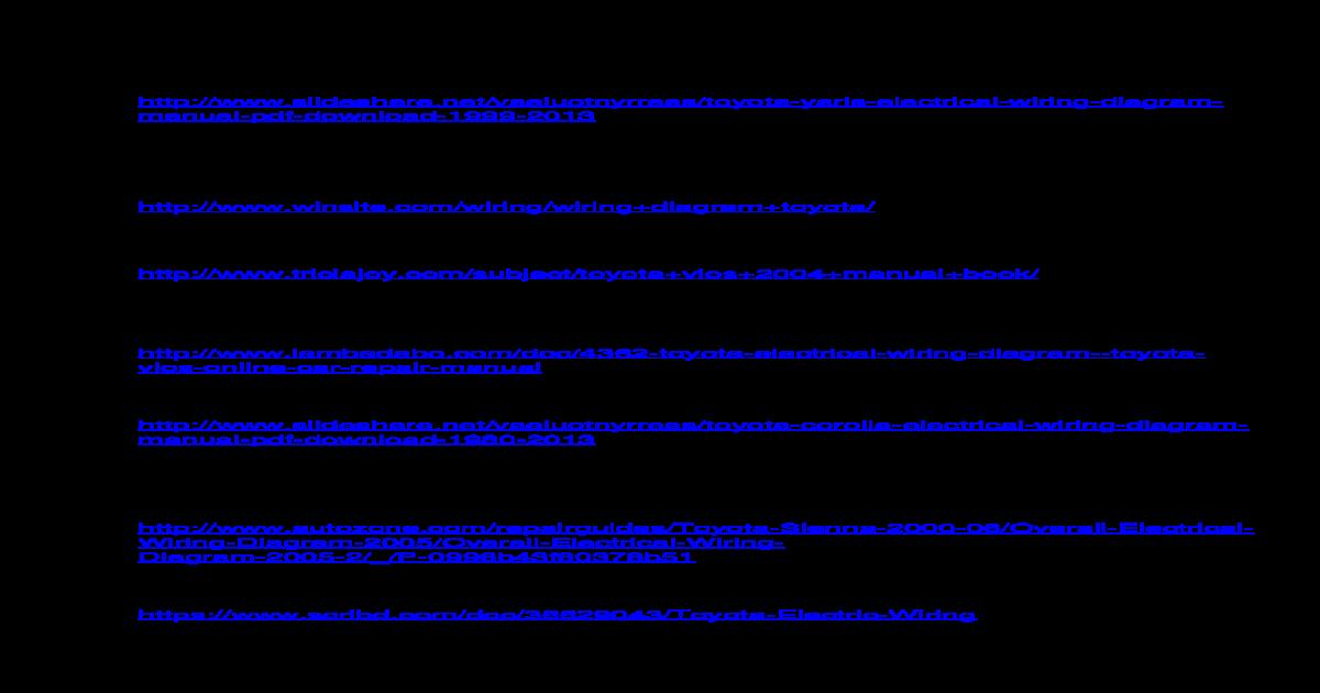 Toyota Vios Electrical Wiring Diagram Manual