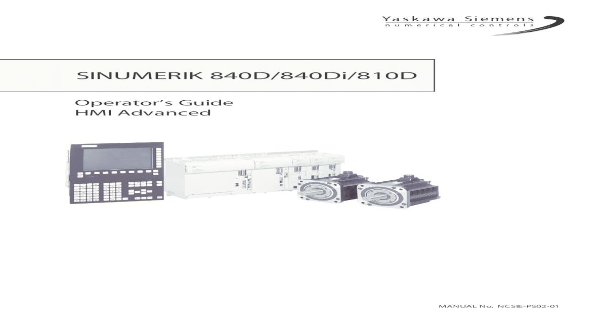 SINUMERIK 840D/840Di/810D - sotuu  ? Operators Guide HMI