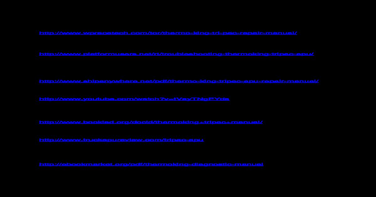 Thermo King Apu Wiring Diagram - Wiring Diagrams Dock