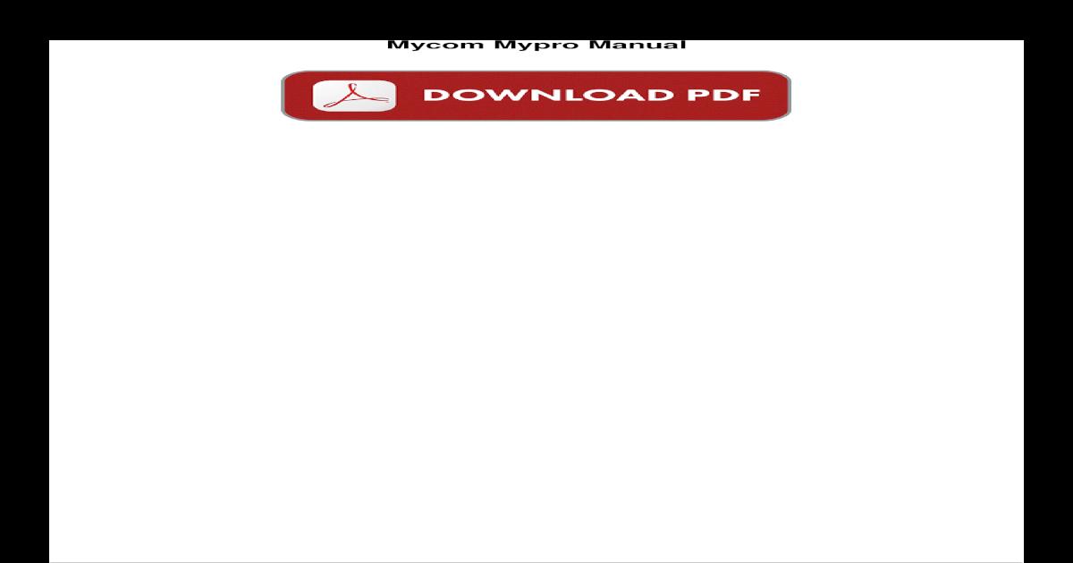 mycom mypro manual