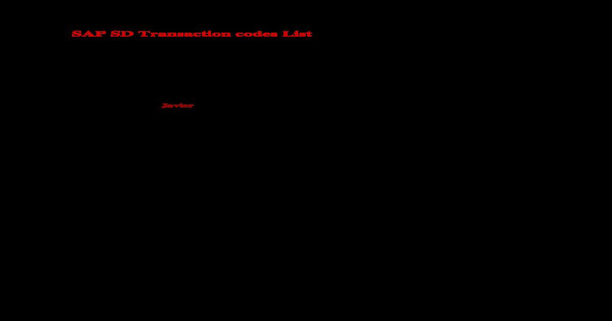 SAP SD Transaction Codes List - [DOC Document]