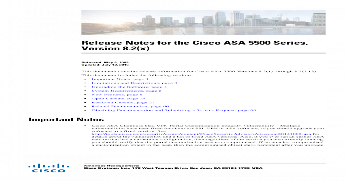 Release Notes for the Cisco ASA 5500 Series, 8 2(x) - [PDF Document]