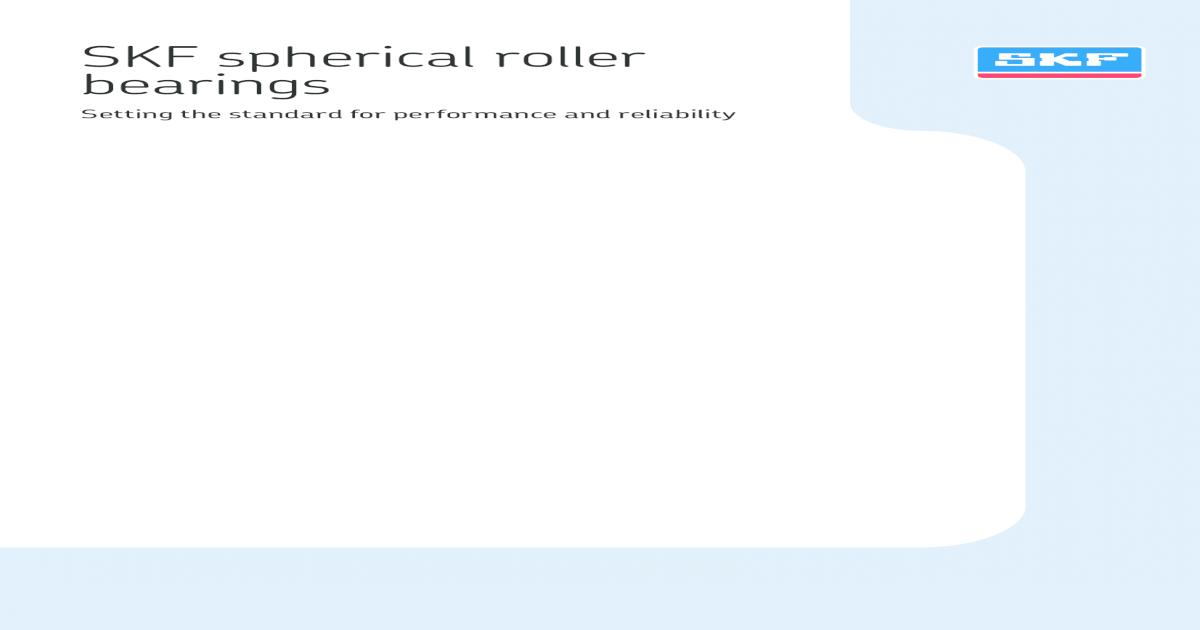 spherical roller bearing SKF catlouge - [PDF Document]