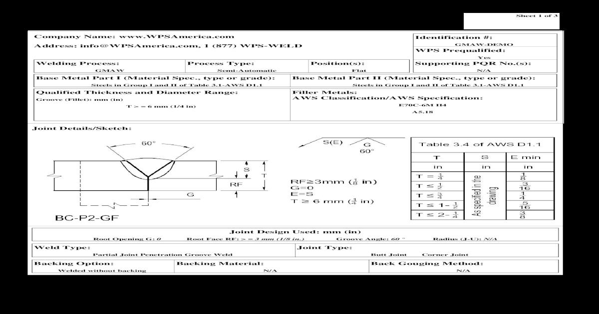 Sample Welding Procedure Specification