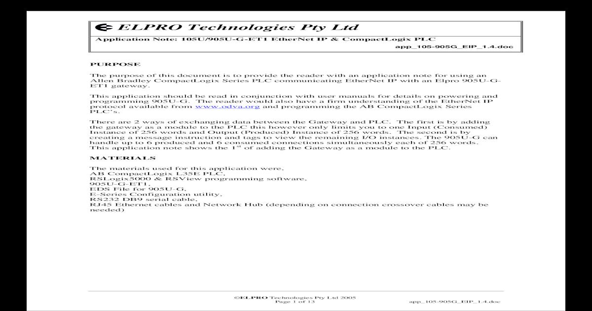 Elpro 105U 905U-G-ET1 EtherNet IPCompactLogix PLC 0 - [PDF Document]