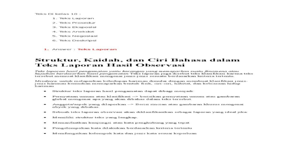 Tugas Bahasa Indo Jenis Dari Teks Kelas 10 Dan 11 12 Teks Docx