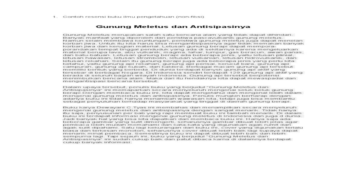 Contoh Resensi Buku Ilmu Pengetahuan Docx Document