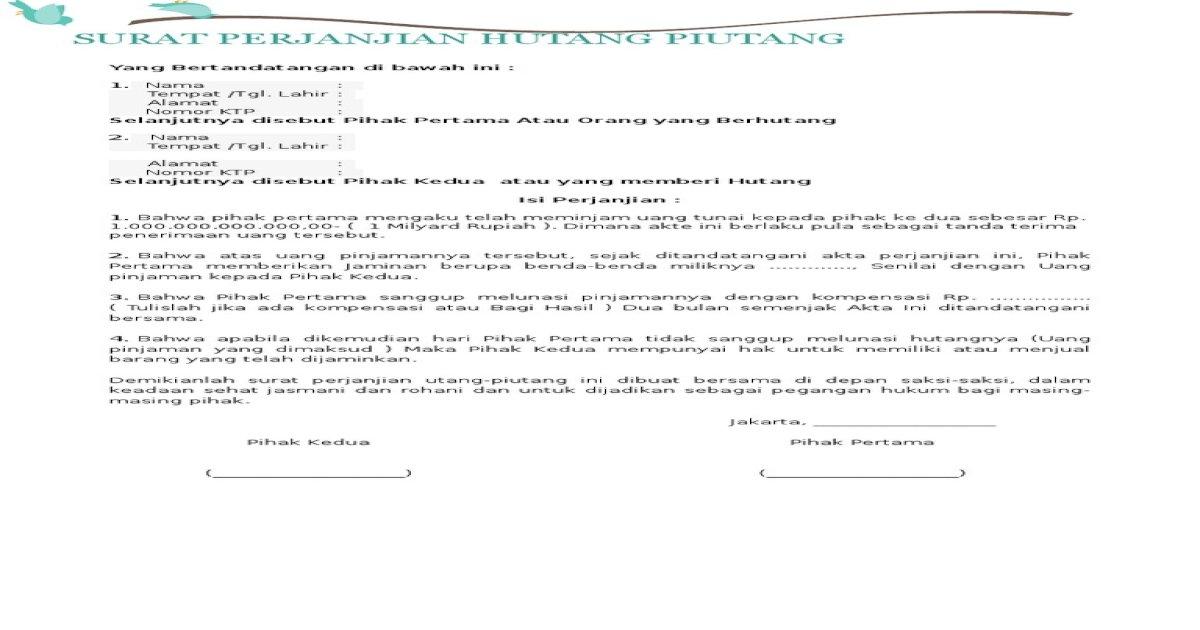 Form Perjanjian Hutang Piutang Docx Document