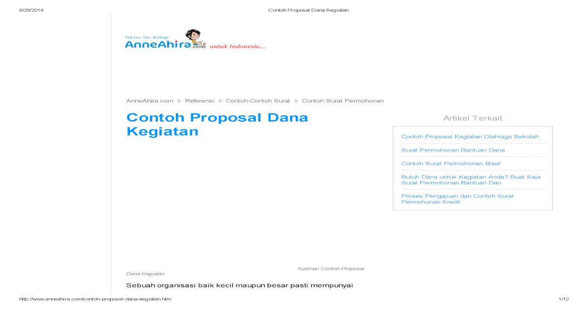Contoh Proposal Dana Kegiatan Pdf Document