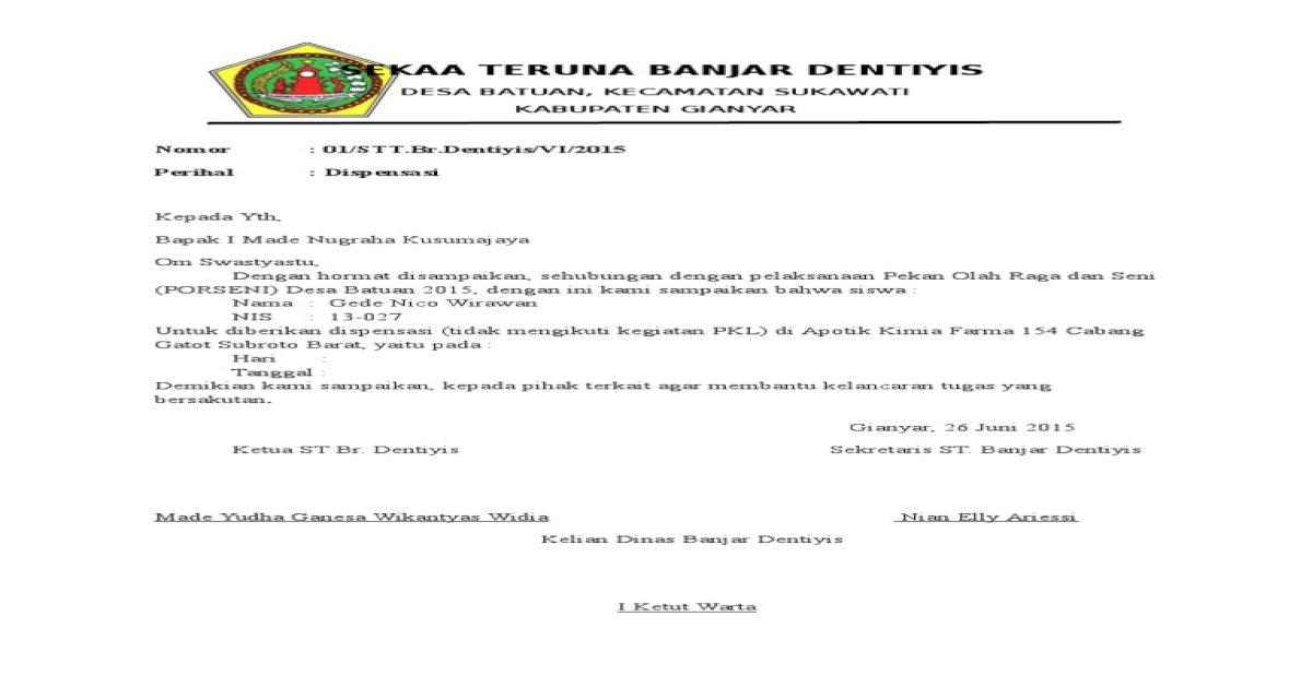 Surat Dispensasi Doc Document