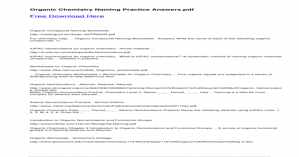 Organic Chemistry Naming Practice Organic Chemistry Naming