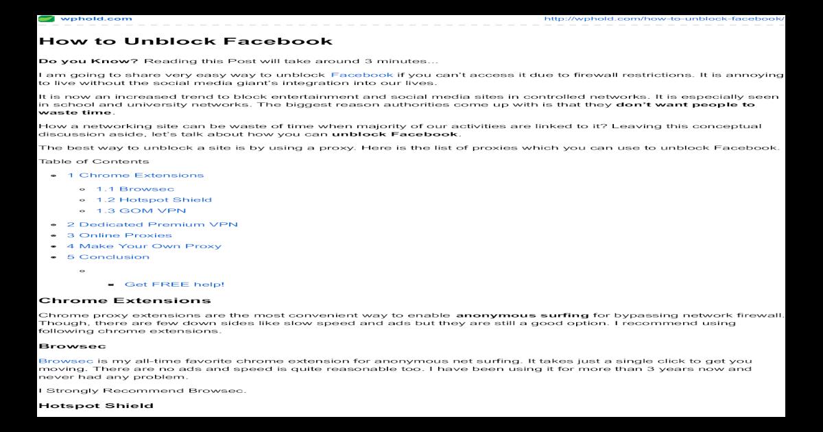 How to unblock facebook - [PDF Document]