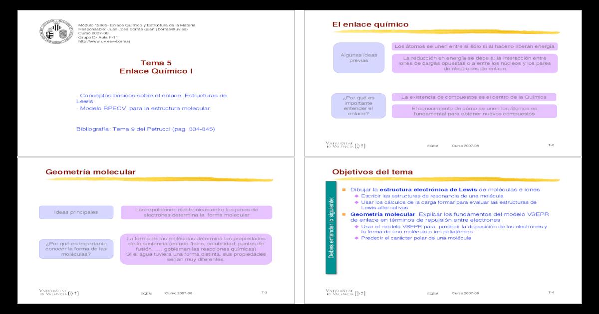 Tema 5 Enlace Covalente Pdf Document