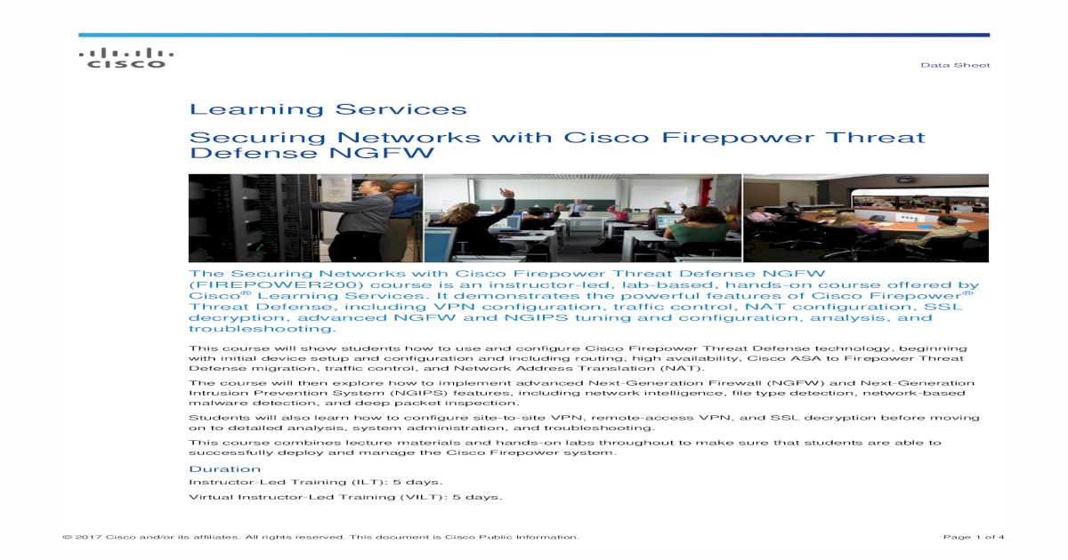 Securing Networks with Cisco Firepower Threat Defense Securing
