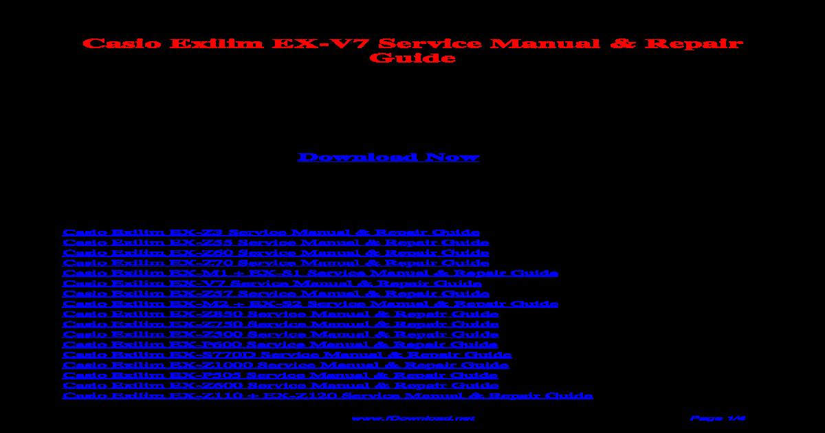 casio exilim m20 s20 service repair manual