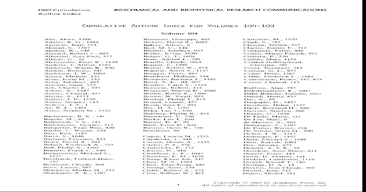 Cumulative Author Index For Volumes 104109 Pdf Document