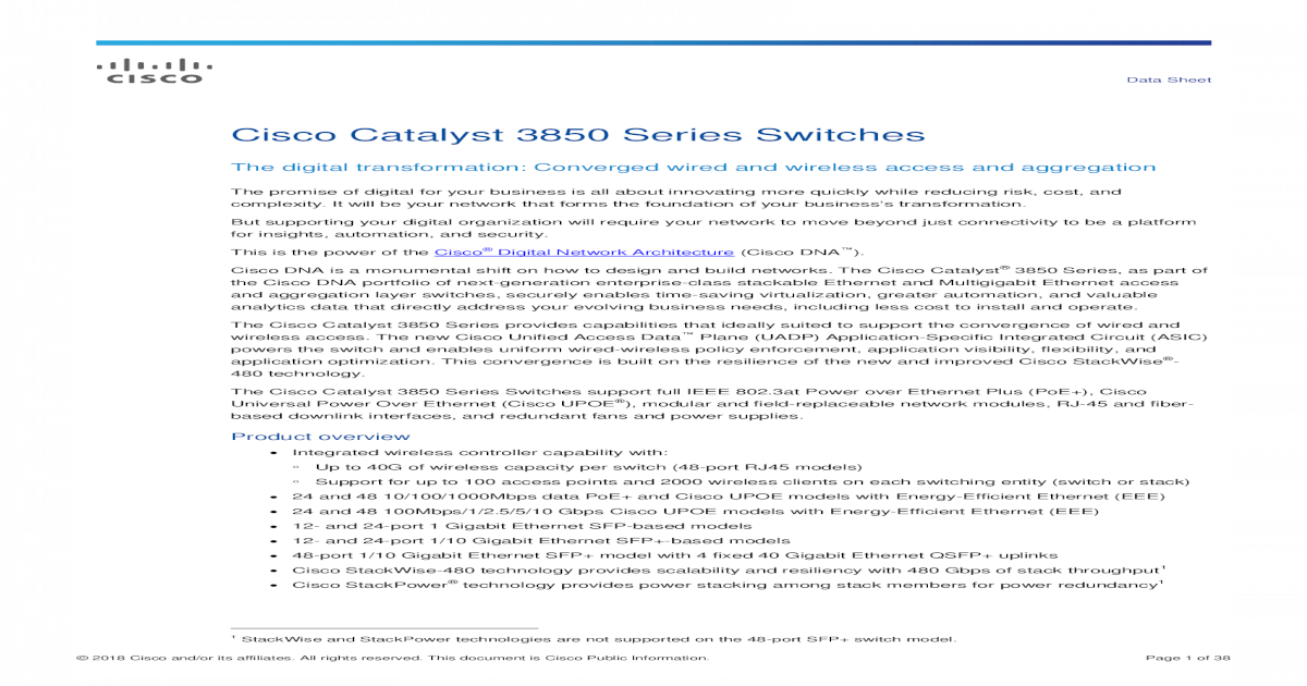 72   Cisco Catalyst 3850 Series Switches Data Sheet - [PDF