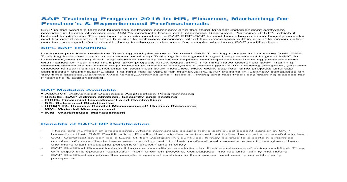 SIPL Training SAP-ERP Training|SAP Certification|SAP Course