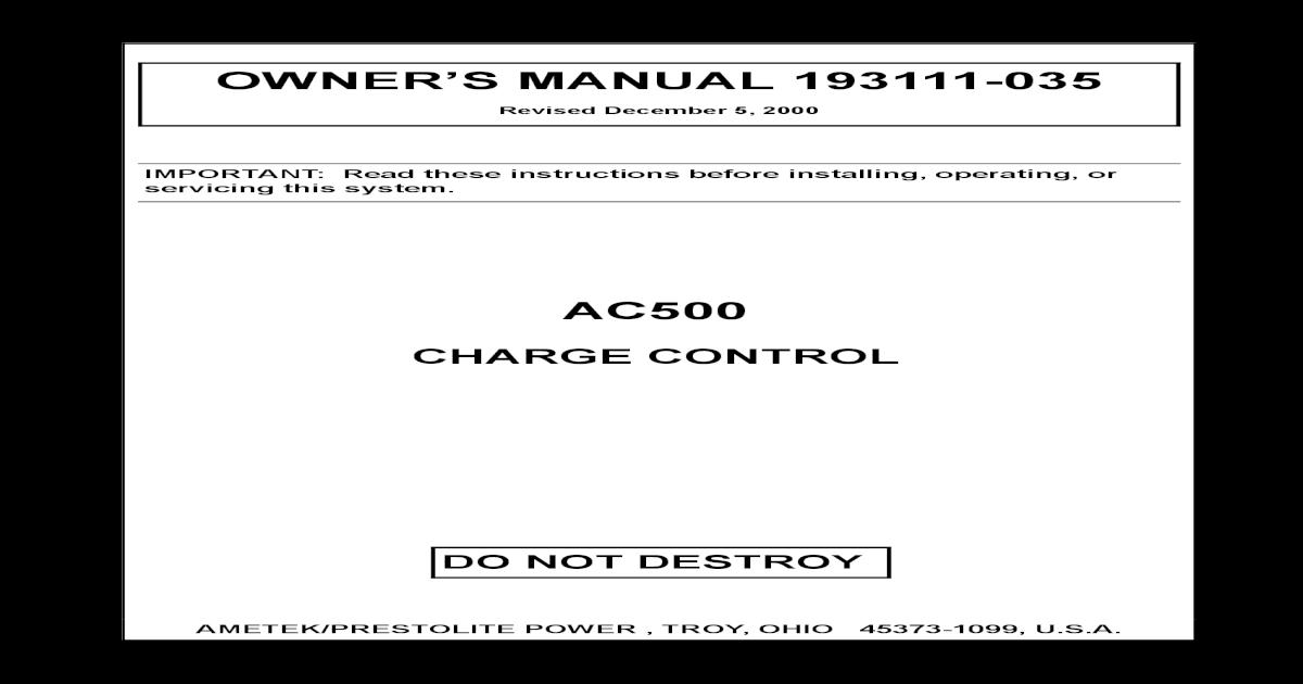 OWNER'S MANUAL 193111-035 AC500 - [PDF Document]