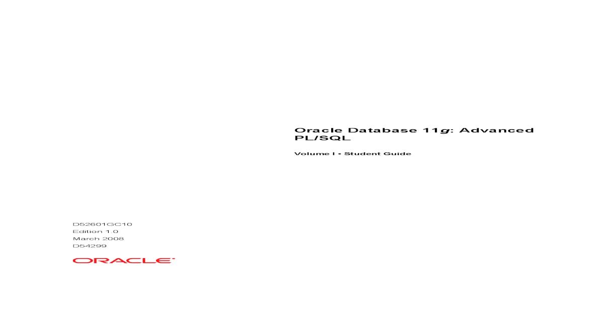 Oracle 11g Advanced Pl Sql Pdf